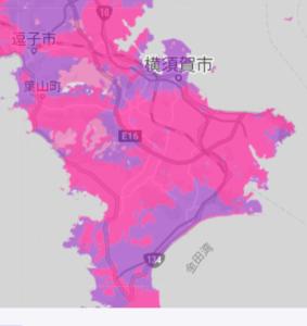 楽天モバイルの横須賀市通信エリア
